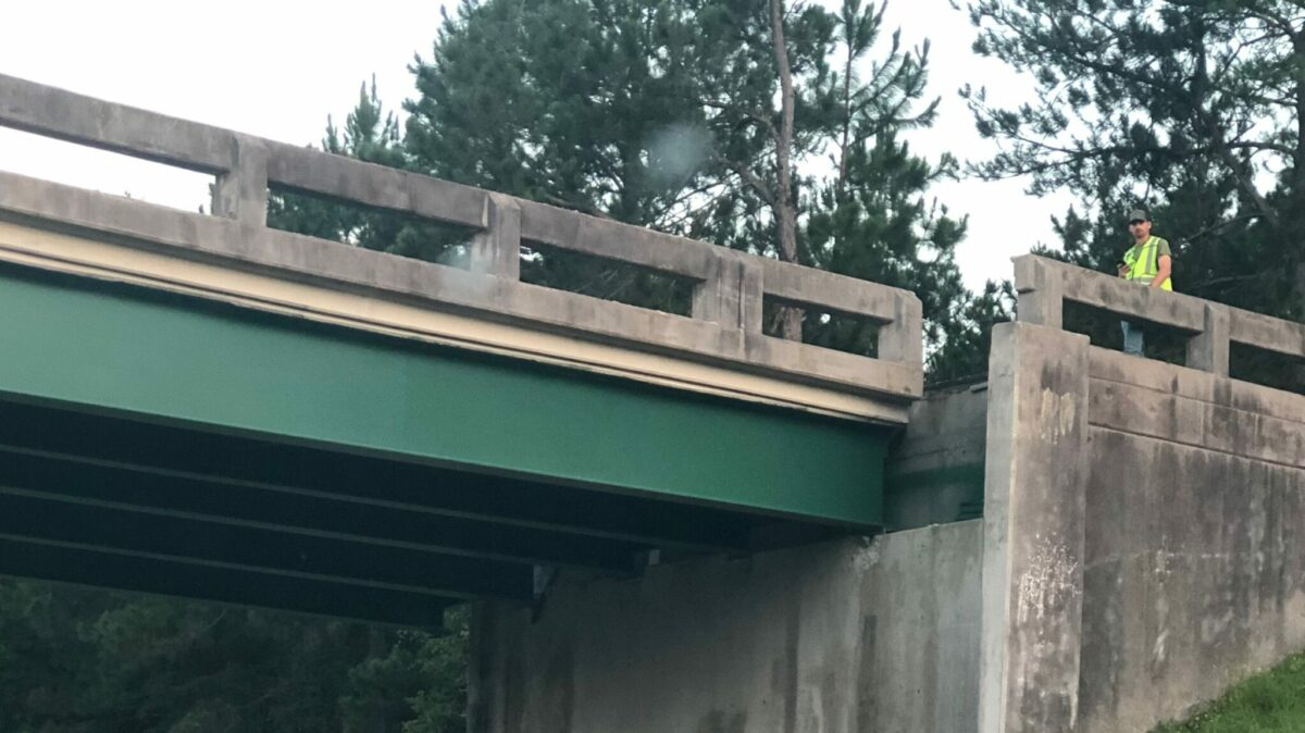 The damage to the overpass is easily seen. (Photo: Georgia Department of Transportation)
