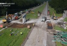 A damaged overpass is demolished in order to re-open I-16. (Photo: Georgia Department of Transportation)