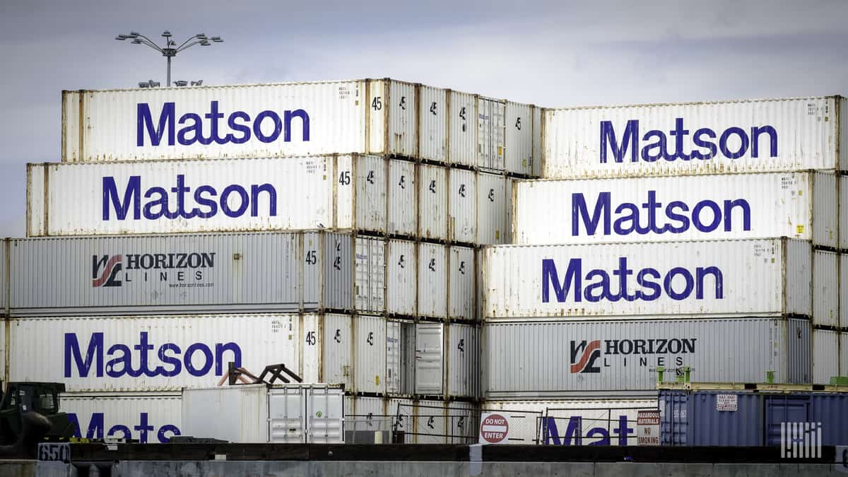 Intermodal containers are stacked high. (Photo: Jim Allen/FreightWaves)