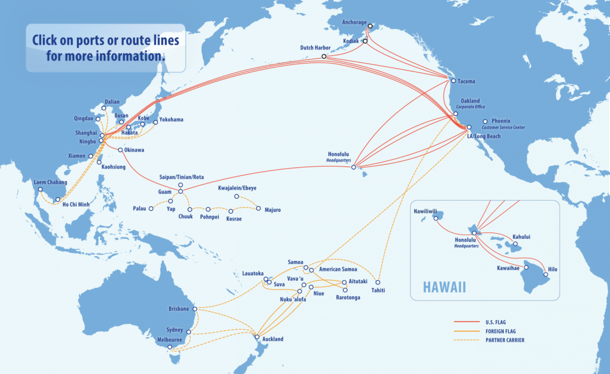 This map shows the breadth of Matson's service to Pacific Ocean nations. (Image: Matson)