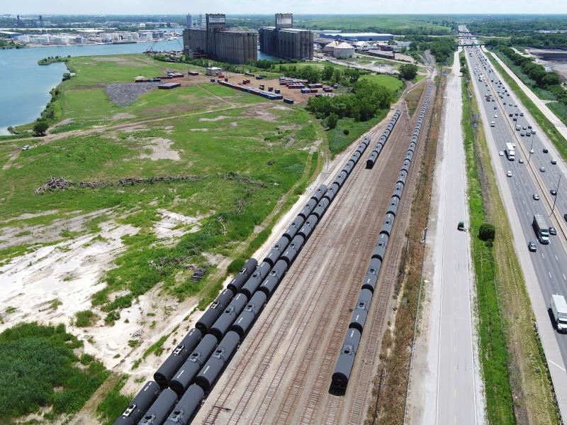 Tank cars are seen on some of the rail lines that serve the Port of Chicago. (Photo: Illinois International Port District)