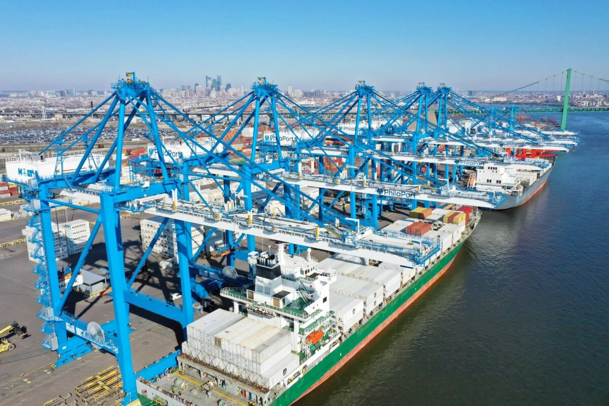 Cranes along the docks at the Port of Philadelphia help load and unload cargo. (Photo: PhilaPort).