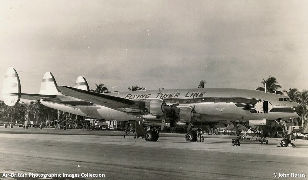 A Flying Tiger Line cargo plane on the runway in a tropical or semi-tropical location. (Photo: John Harris/abpic.co.uk)