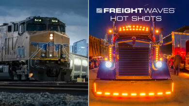 Montage of a Union Pacific train and alit up tractor-trailer, with the FreightWaves Hot Shots logo.