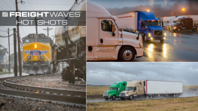 Montage of trucks and a train in wet weather.