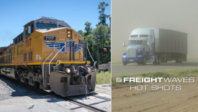 Montage of a train, along with a tractor-trailer driving through sand and dust.