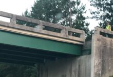 Dislodged Georgia highway 86 overpass above I-16.