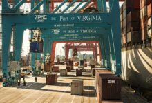 A photograph of containers at the Port of Virginia.