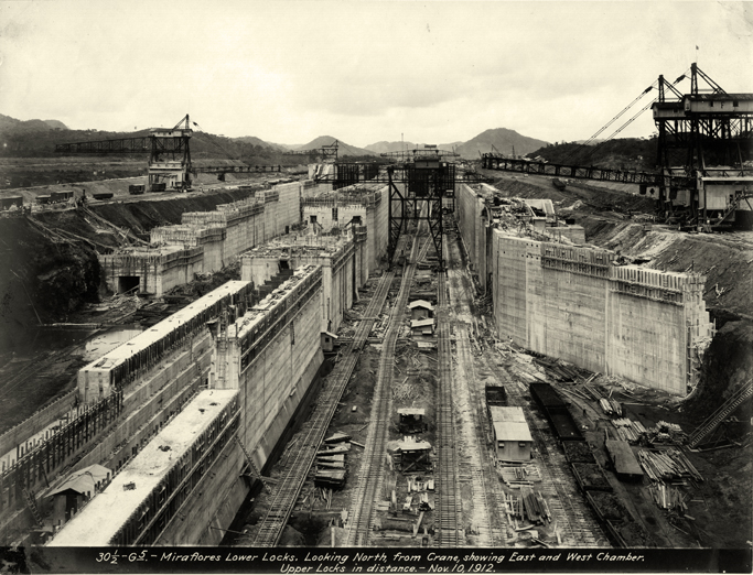 The Miraflores Lower Locks. Looking north, from crane. Showing east and west chamber. Upper locks in distance. Photo taken on November 10, 1912. (Photo: U.S. Army Corps of Engineers)