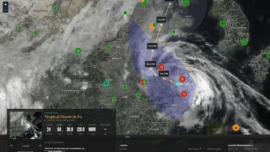 Weather map of typhoon making landfall in China.