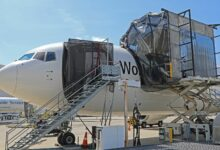 A UPS cargo plane with giant netting system over the open cargo door to catch bugs.