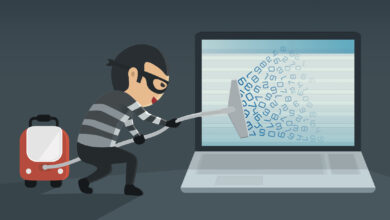 An illustration of a bulgar wearing a striped shirt using a vacuum to pull data from a computer, illustrating an article about cyberthieves who steal data.