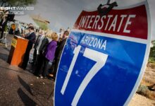 An outdoor news conference to announce a new improvement project on I-17. (Photo: Arizona Department of Transportation)