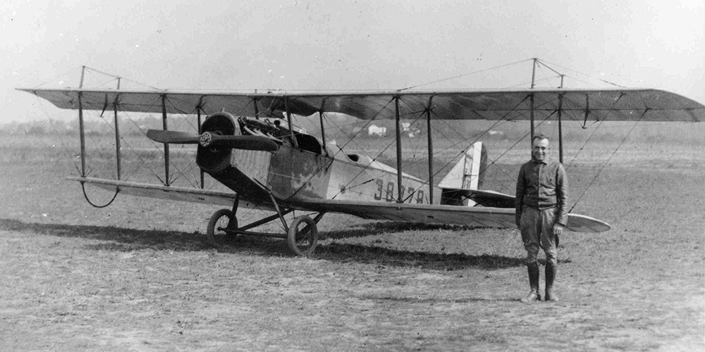 Eddie Gardner posed with his Curtiss JN-4H in 1918. (Photo: National Postal Museum)