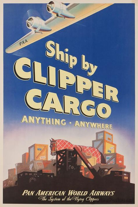 A Pan American Airways poster advertising its air cargo service.  (Image: The Simmonds Collection)