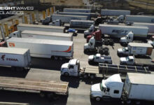Trucks wait in line to be inspected and cross the border. (Photo: U.S. Customs and Border Protection)