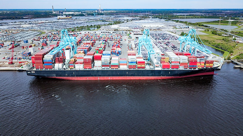 A berthed containership being served by three of JAXPORT's cranes. (Photo: JAXPORT)