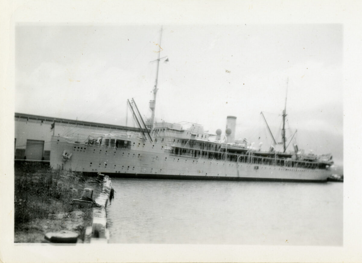 The Matson Line's SS Lurline at anchor in Hawaii in 1941-42. (Photo: Digital collection of the National World War II Museum)