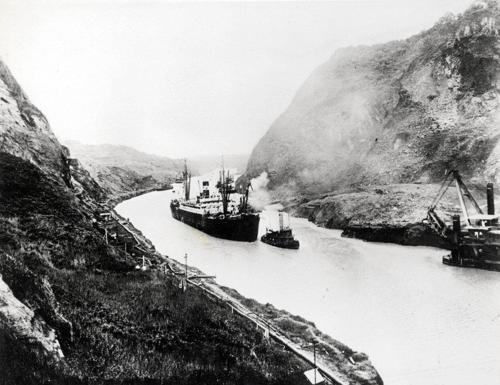 A ship, a tug and a construction vessel in the Panama Canal. (Photo: PBS.org)