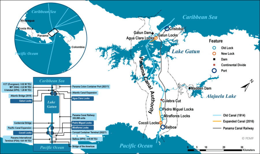 A close-up map of the Panama Canal and its components. (Map: porteconomicsmanagement.org)