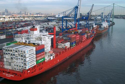 Cargo ships are at dock at the Port of Philadelphia. (Photo: freelibrary.org)