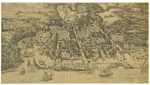 A drawing of Philadelphia and its port in colonial America. (Image: freelibrary.org)
