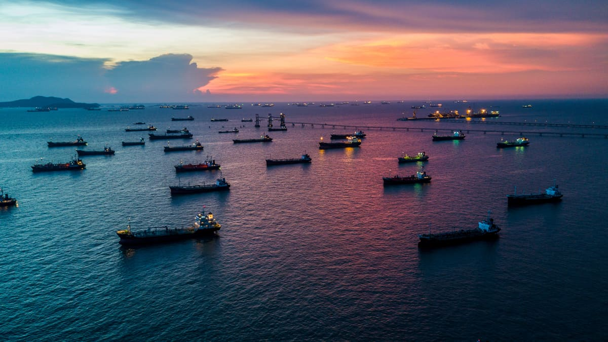Ships at anchor, waiting to offload their cargo. (Photo: Jim Allen/FreightWaves)