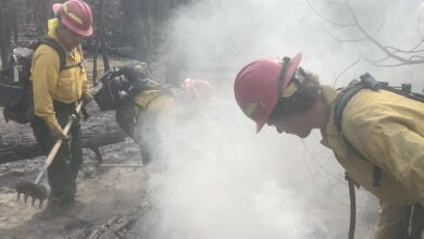 Crew trying to contain the Dixie fire in northern California.