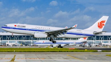China Airlines jet takes off.