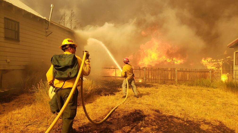 Crews at the Dixie fire in northern California on August 4, 2021.