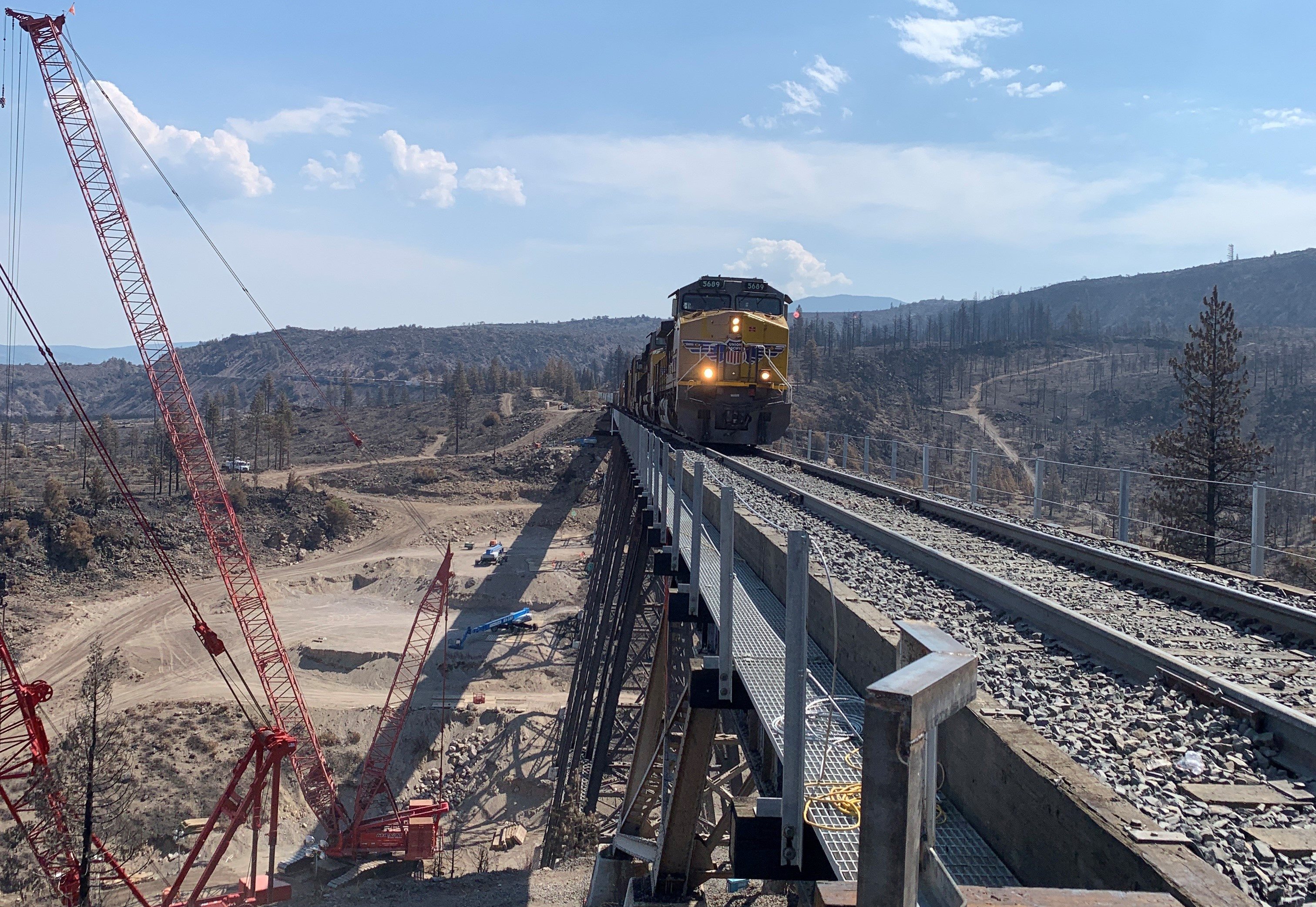 A photograph of a Union Pacific train crossing the Dry Canyon Bridge.