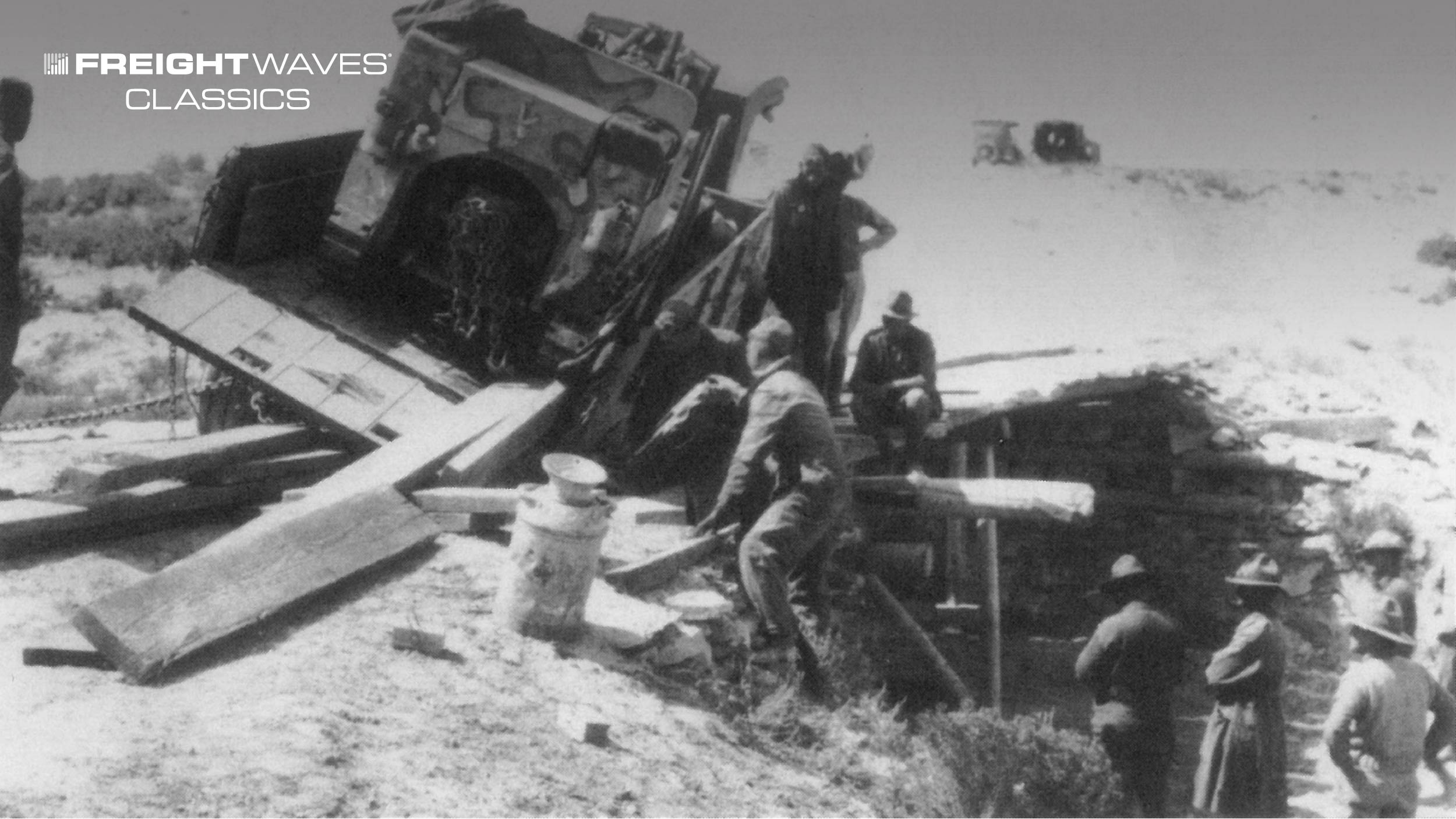 One of many mishaps along the route of the convoy. (Photo: Lincoln Highway Association)