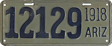A 1918 license plate from Arizona, which had only been a state for six years. (Photo: wikipedia)