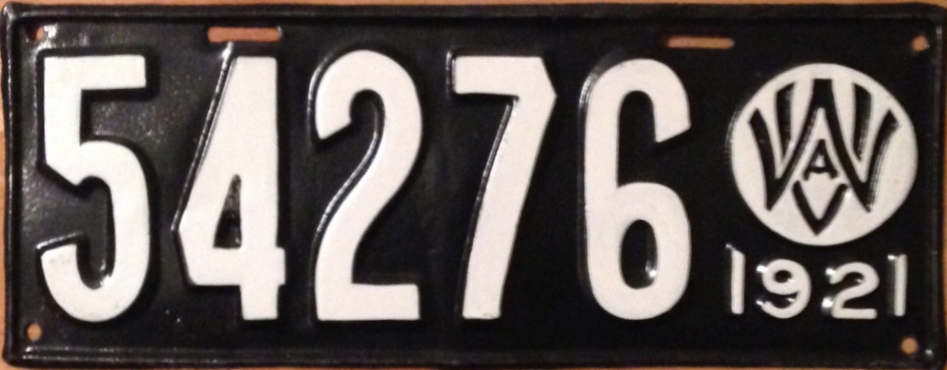 A 1921 West Virginia license plate, made of stamped metal. (Photo: wikimediacommons.com)