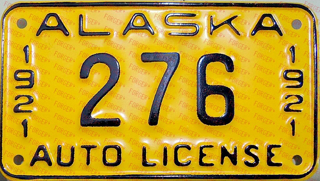 This is a forged 1921 Alaska license plate. (Photo: Automobile License Plate Collectors Association)
