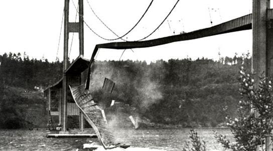 The Tacoma Narrows Bridges collapses in 1940. (Photo: ResearchGate.net)