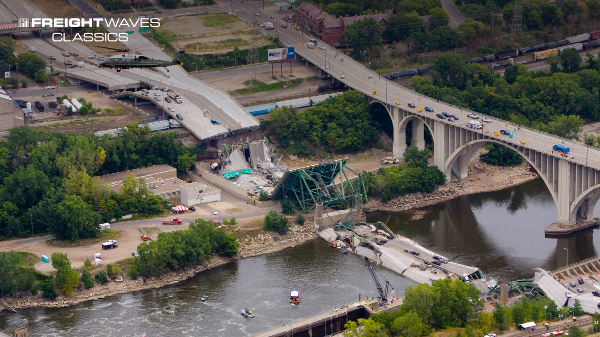 The collapse of an I-35 bridge illustrates what can happen to a deficient bridge. (Photo: U.S. Army Northern Command)