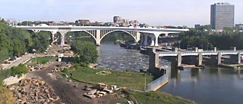 The remains of the I-35W bridge the next day. (Photo: Minnesota Department of Transportation)