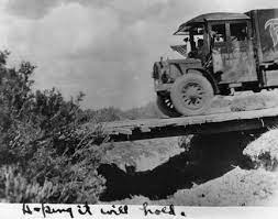 A rudimentary bridge spans a gulch along the convoy's route. (Photo: Eisenhower Presidential Library)