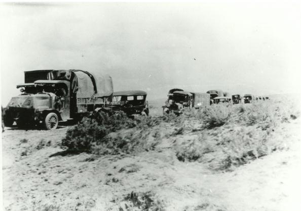 """A photograph of the convoy on a dirt road (""""highway"""") in Nebraska. (Photo: U.S. Army)"""
