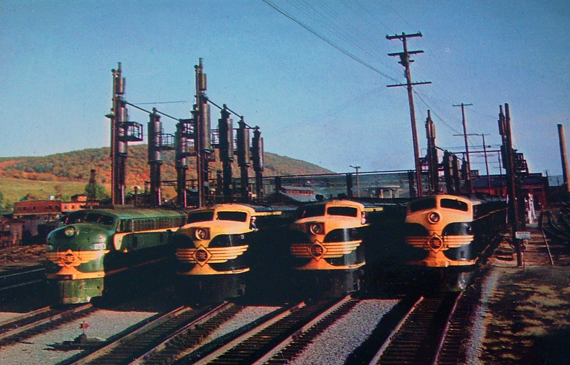 A 1950s Erie Railroad photo shows four diesel locomotives at the railroad's terminal in Hornell, New York. (Photo: Erie Railroad)
