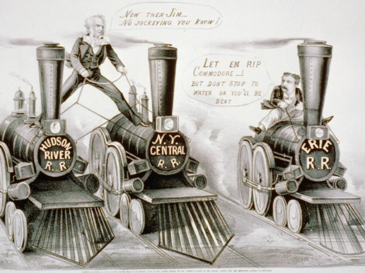 """This political cartoon from the late 1860s illustrates the """"Erie Railroad War."""" (Image: ThoughtCo)"""