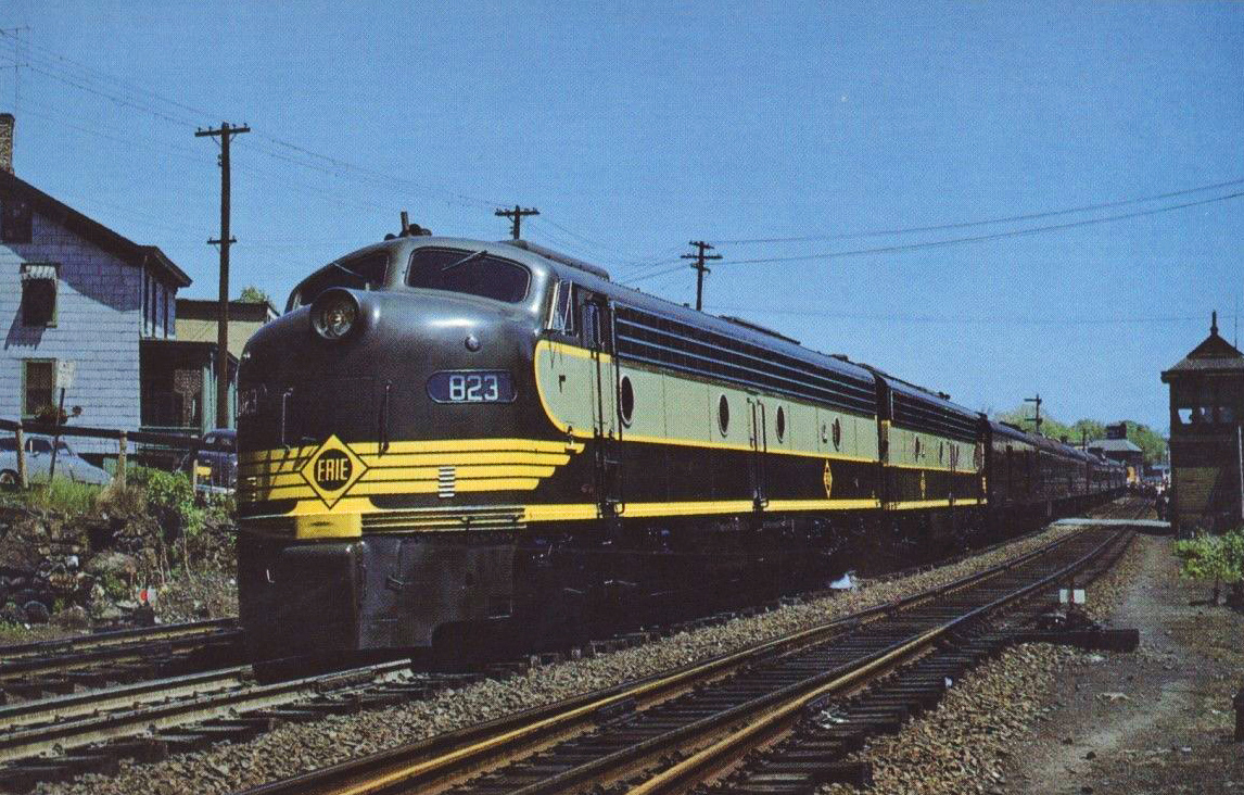 """The Erie Railroad's """"Centennial Train"""" celebrated the railroad's 100 years of service. Photo taken in the spring of 1951 at Middletown, New York  (Photo: Marvin Cohen/American-Rails.com)"""