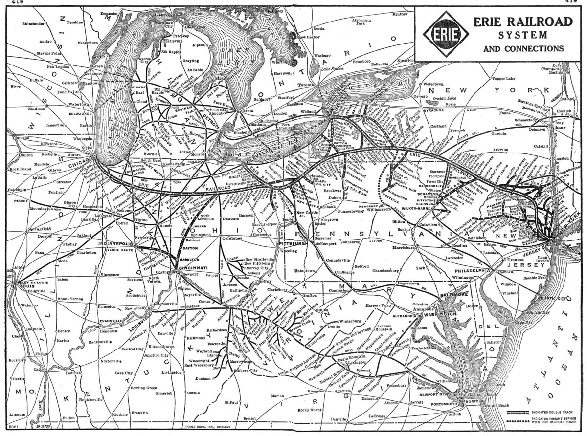 An Erie Railroad System map. (Image: American-Rails.com)