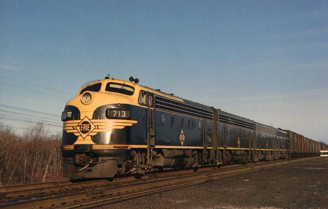 An Erie Railroad freight train rolls during the late 1950s. (Photo: Marvin Cohen/American-Rails.com)