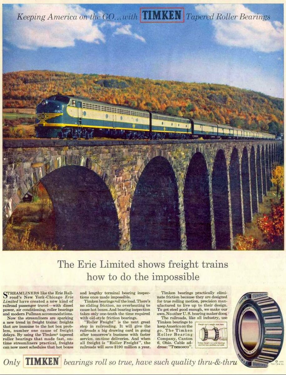A Timken Roller Bearing Company advertisement from 1955 features an Erie Railroad train on the Starrucca Viaduct at Lanesboro, Pennsylvania. (Image: American-Rails.com)