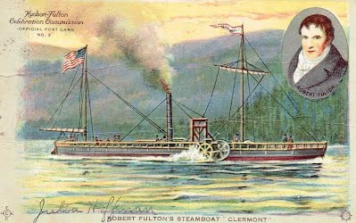 A painting of the Clermont, with an inset of Fulton. (Image: Southern Lancaster County Historical Society)
