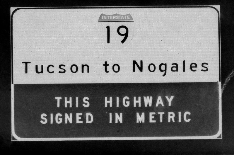 One of the original signs on Interstate 19, erected by the Arizona Department of Transportation. (Photo: ADOT)