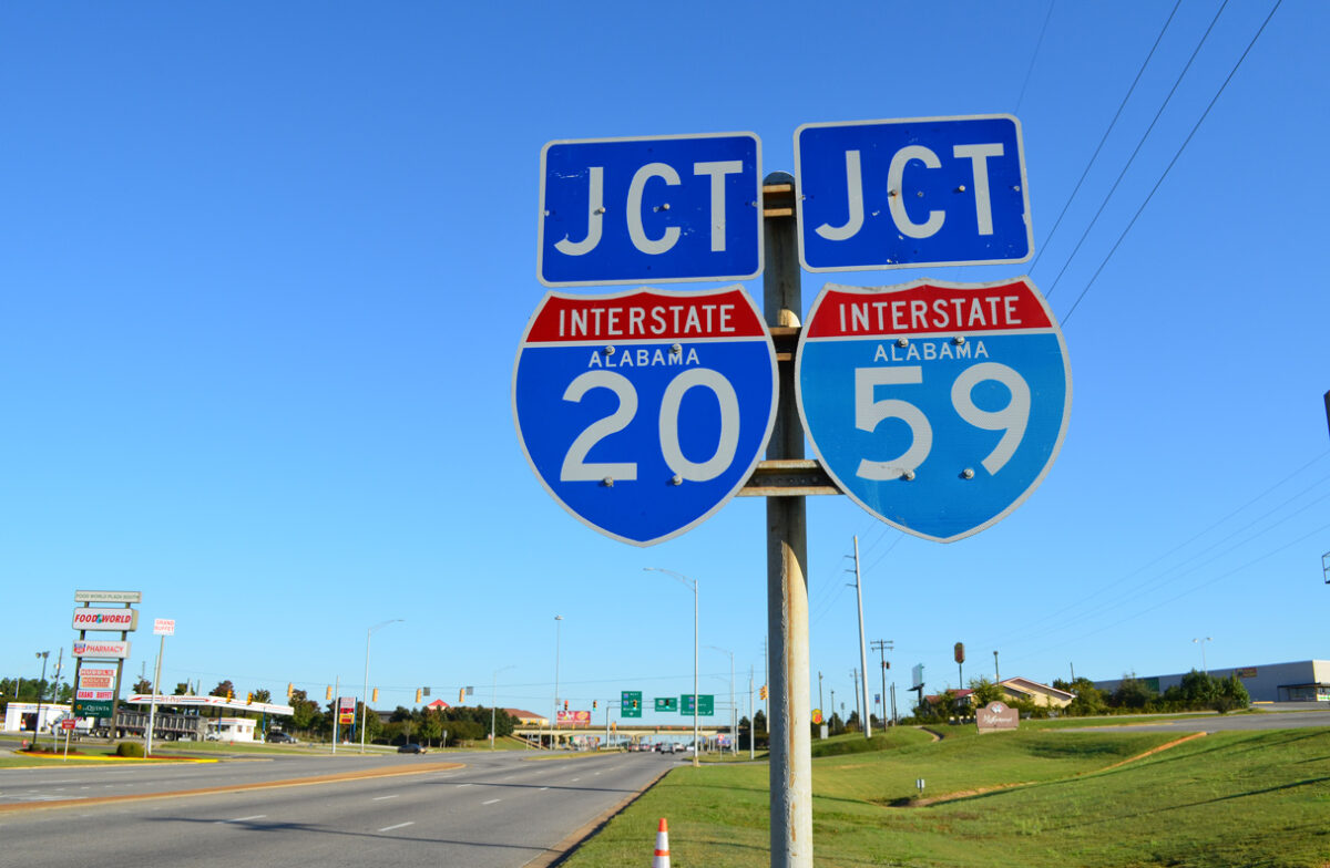 A sign for the conjoined I-20 and I-59 in Alabama. (Photo: interstate-guide.com)