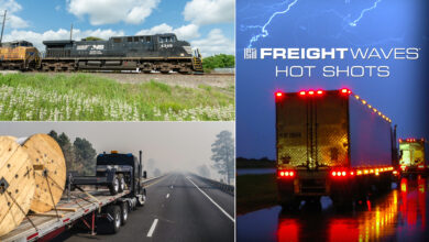 Photo montage of a train, a tractor-trailer in rain and a flatbed truck with a smoky sky.